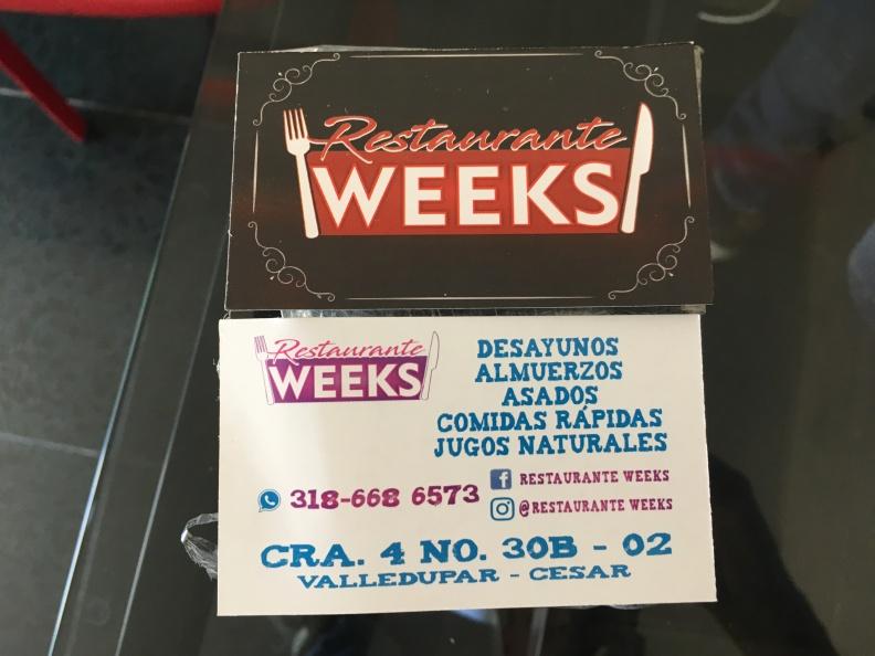 Tarjetas de Presentación – Restaurante Weeks.