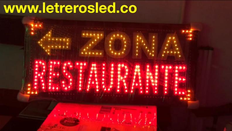 Aviso LED Personalizado – Zona Restaurante.