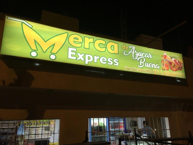 Letrero Luminoso – Merca Express Azucar Buena