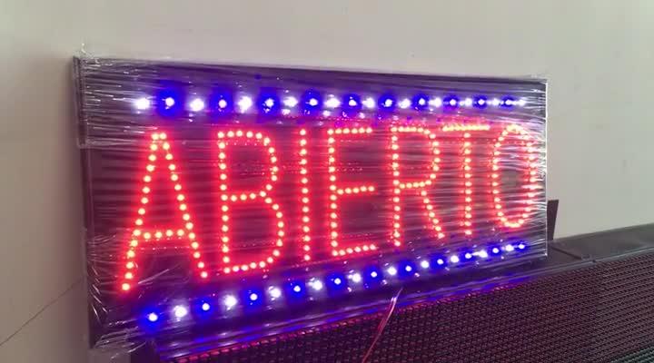 Letrero LED Abierto 40×20. Borde Diferentes Efectos.